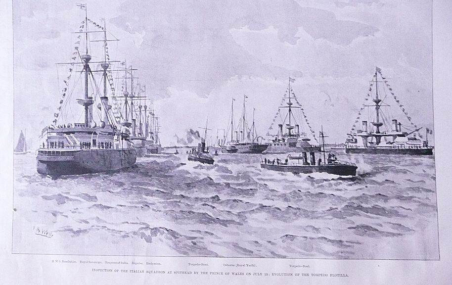 'Inspection of The Italian Squadron at Spithead' Full Page from The London Illustrated News July 1895