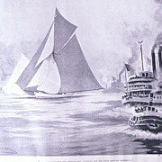 Contest For The AMERICA CUP -Starting First Race' Full Page from The London Illustrated News S