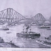 'The Channel Squadron at Anchor off The Forth Bridge' Full Page from The London Illustrated Ne