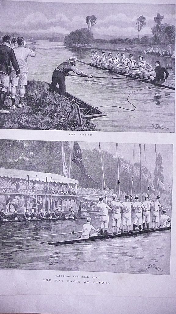'The May Races at Oxford'  Full Page from The London Illustrated News July 1892