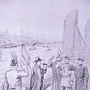 'Arrival of The German Emperor at Cowes'  Front Page from The London Illustrated News August 1