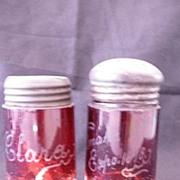 1898 OMAHA EXPO Ruby Glass Salt & Pepper Shakers