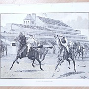"""Full Page Illustrated London News 1892  """"The Derby - The Preliminary Canter"""""""""""
