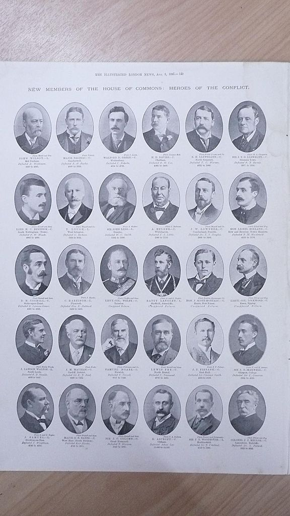 "Full Page Illustrated London News 1895  ""New Members of The House of Commons"""