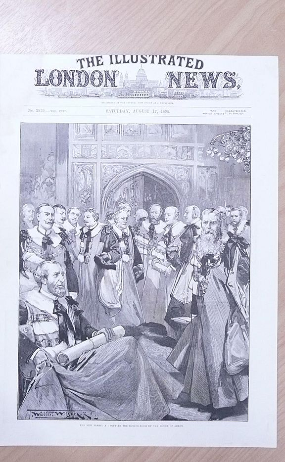 """Front Page Illustrated London News 1892  """"The New Peers"""""""