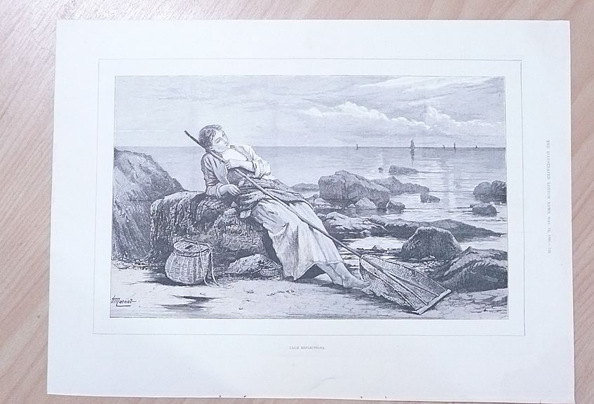 """Full Page Illustrated London News 1895  """"Calm Reflection"""""""
