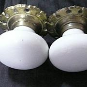 A Pair of Victorian Porcelain & Brass Door Handles