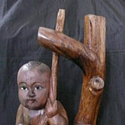 WWII  Large Figurine of a Japanese Boy Hand Carved by a Japanese POW