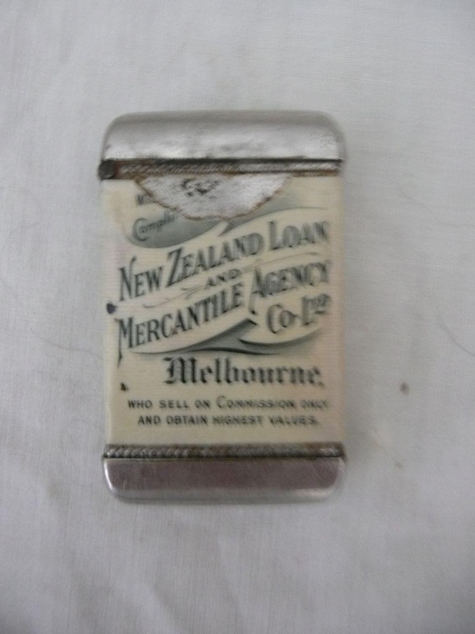 Rare Old Advertising Vesta Case for NZ Loan & Mercantile Agency Ltd
