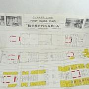 Cunard Line  Steamer BERENGARIA Deck Plans 1927