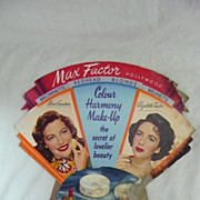 Old MAX FACTOR Advertising Display Card Circa 1940's-50's