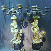 A Magnificent Pair of French Rococo Reproduction Candelabra' s