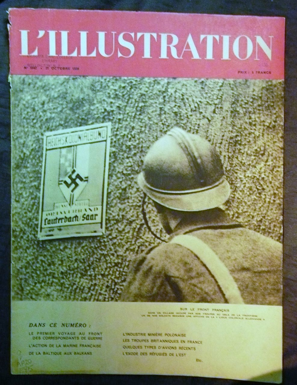 ORIGINAL WWII Front Cover L ' Illustration French Magazine 21 October 1938
