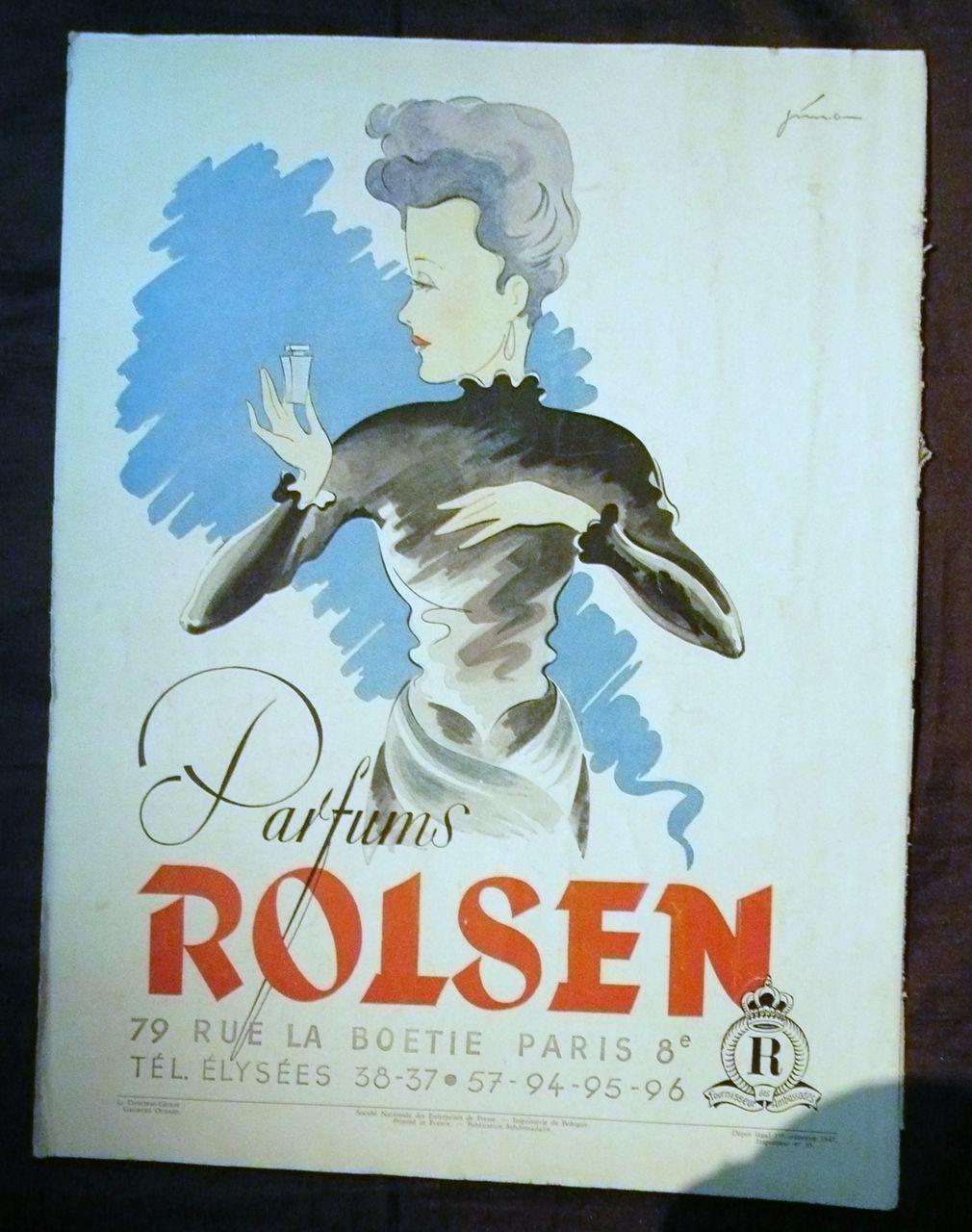 "ORIGINAL ""ROISEN PARFUMS"" Advert From L ' Illustration French Magazine 1947"