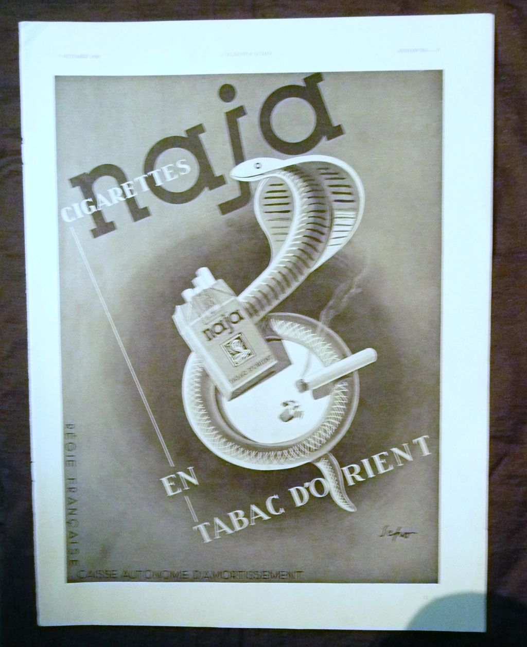 "ORIGINAL ""NAJA Cigarettes""  Advert From L ' Illustration French Magazine October 1939"