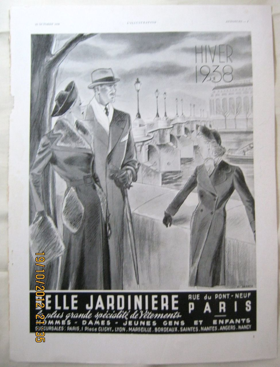 "ORIGINAL ""BELLE JARDINIERE""  Advert From  L ' Illustration French Magazine  October 1938"