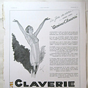 "SALE ORIGINAL ""CLAVERIE"" Advert From  L ' Illustration French Magazine  April 1937"