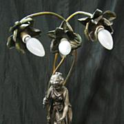 SALE An Original & Beautiful Pewter & Brass Figural Lamp Circa 1910