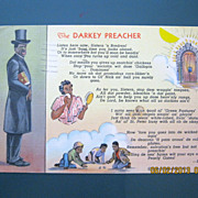 "Black American Postcard "" The Darkey Preacher"""