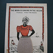 "Black American Postcard "" The Moon Is Sinking In The Ocean"""