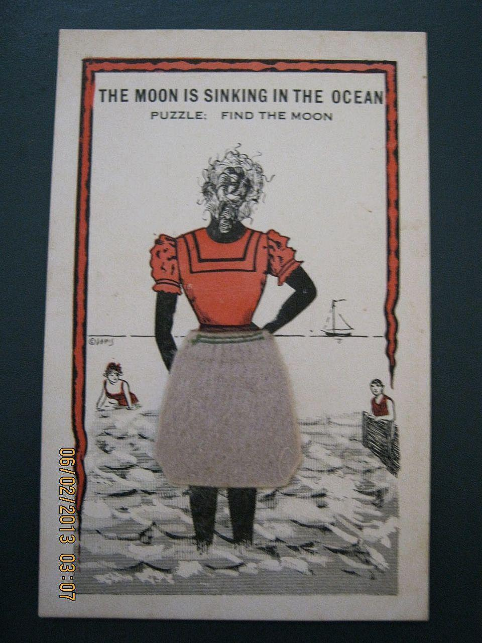 "Black American Postcard "" The Moon Is Sinking In The Ocean"""