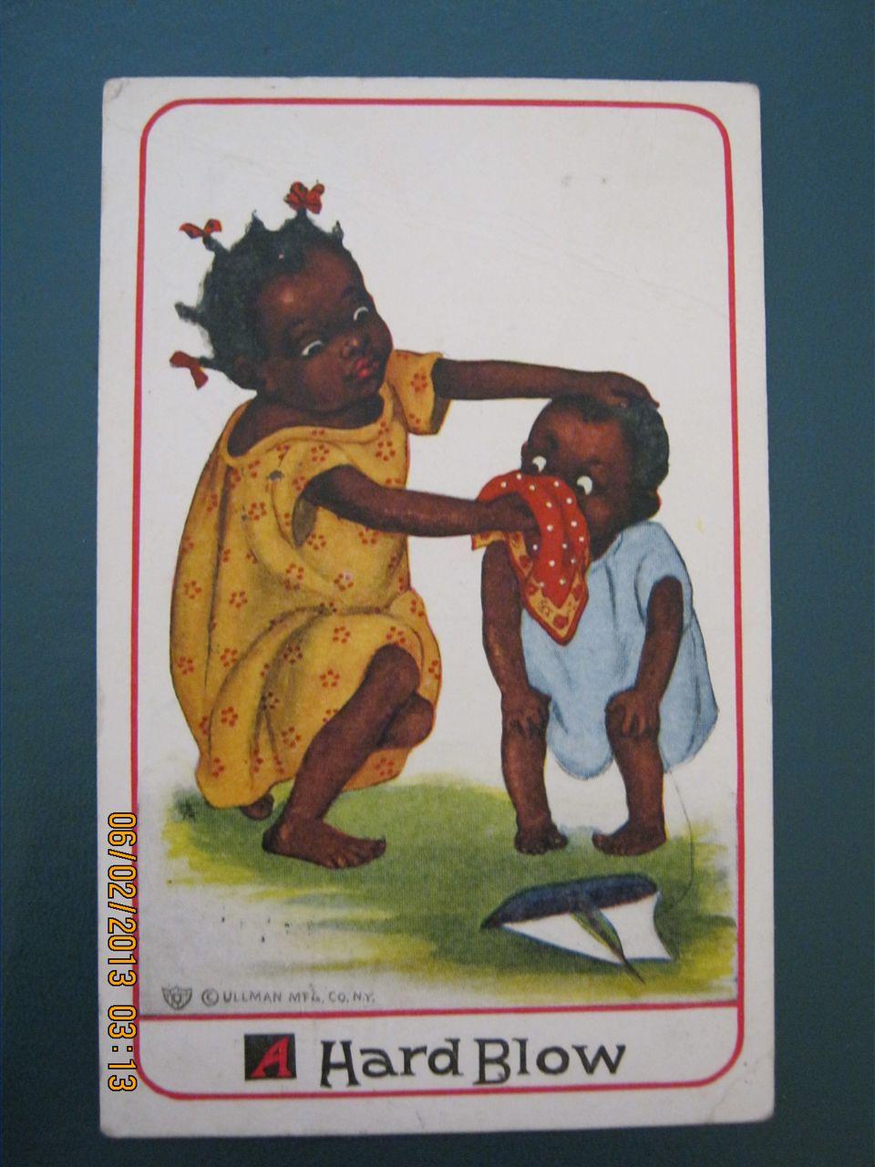 "Black American Postcard "" A Hard Blow'"