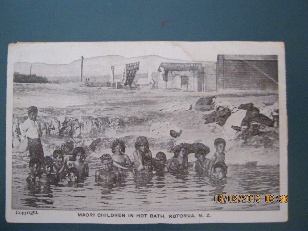 Maori Children in Hot Bath, Rotorua, New Zealand