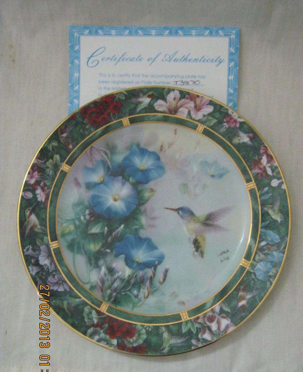 Lena Liu's Humming Bird Treasury By W.L. George Fine China 3rd Issue Plate 1992