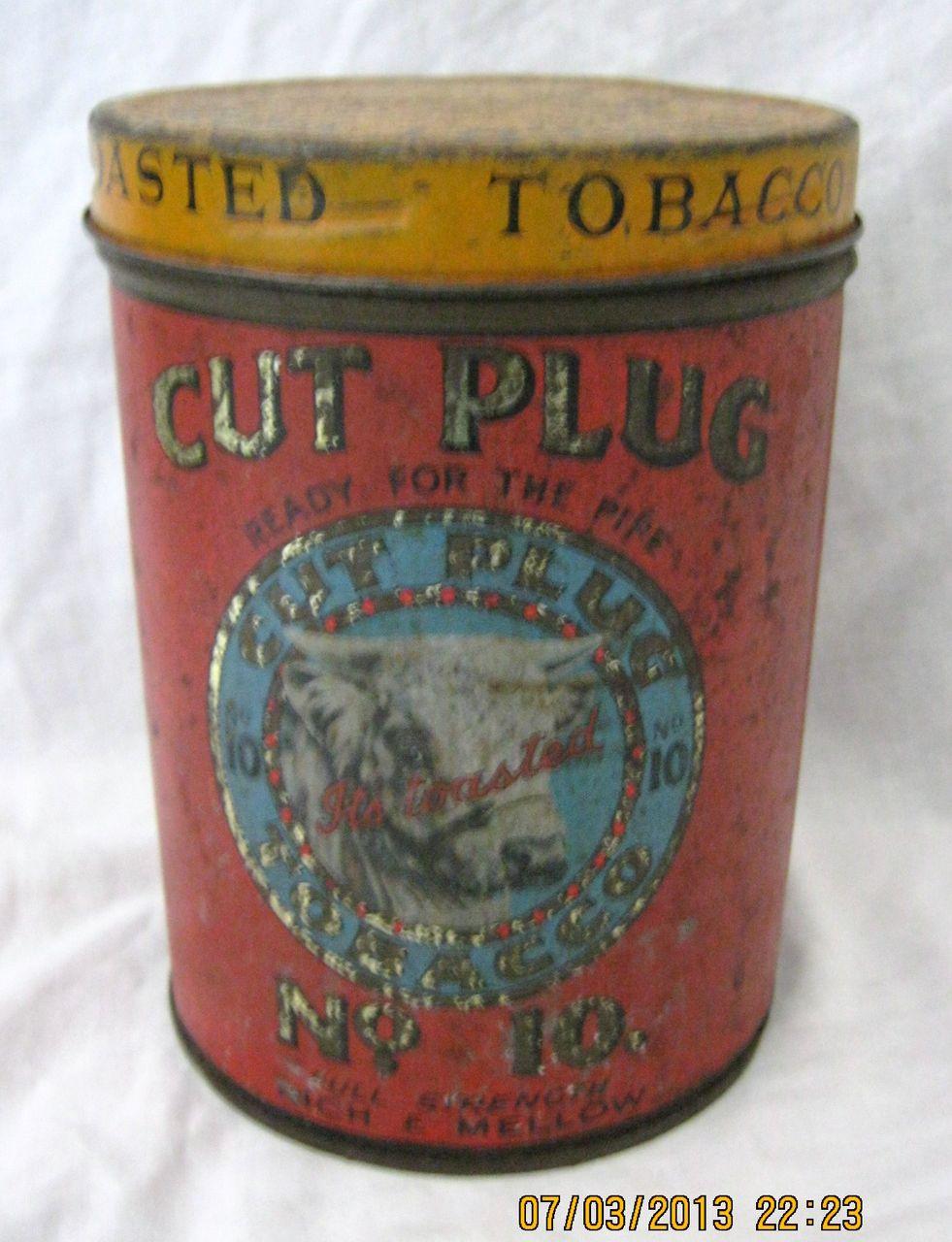 "Large  Tobacco Tin  ""CUT PLUG No. 10""  National Tobacco Co. New Zealand"