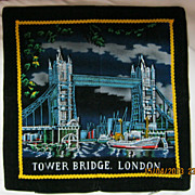 "RETRO 70's ""Tower Bridge"" London Tourist  Souvenir Cushion Cover"