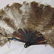 """Flappers"" Ostrich Feather Fan Circa 1920's"