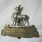 WWI British Army  Badge -  Royal Warwickshire Birmingham Battalion