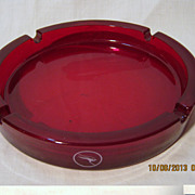 QANTAS Red Glass Promotional Ashtray -Circa 1960's-70's
