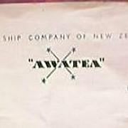 M.V. AWATEA Union Steamship Co. Letterhead Circa  1930's