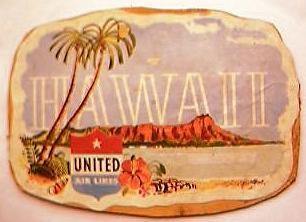 Vintage United Airlines Hawaii Baggage  Sticker