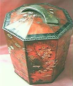 Lovely Victorian Peek, Frean & Co.  Oriental Design Octagonal Tea Tin