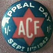 WW11 Australian Patriotic  ACF Fund Raising Tin Badge 1942