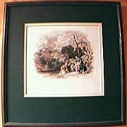 "Beautiful Victorian Hand Coloured Engraving """"Dice Players near Amey"""
