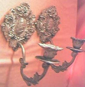 Vintage Pair of Ornate Gilt Danish Candle Sconces