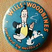 """Vintage Cigarette-Pin-Back """"Wills Woodbines Smoked by Millions"""""""