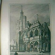"Vintage German Engraving ""Das Rathaus In Coln"" Circa Mid 1800's"