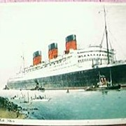 Queen Mary Shipping Postcard  Cunard White Star Line