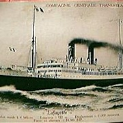 """Vintage French Shipping Line Postcard """"LAFAYETTE"""""""