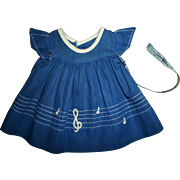 Vintage 1930's Ideal Shirley Temple Blue Dimity Note Dress