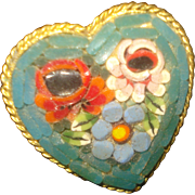 SALE Heart Shaped Micro-Mosaic Pin