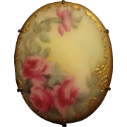 SALE PENDING Victorian Hand Painted Porcelain Pin
