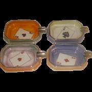 SALE Set of 4 Noritake Porcelain Ashtrays Bridge Set
