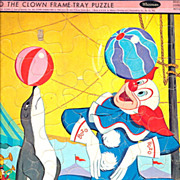 """1966 Bozo the Clown 11 1/2"""" x 14 1/2"""" Frame Tray Puzzle"""