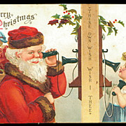 1906 Ellen Clapsaddle Santa Claus with Girl Postcard