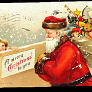 1907 Ellen Clapsaddle Santa Claus with Girl Postcard